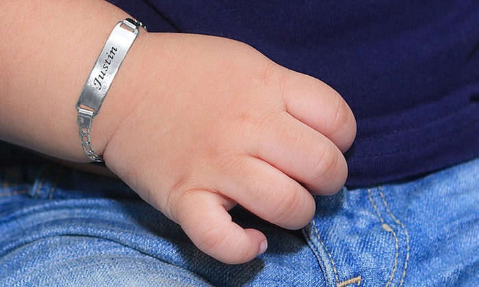 Monogramhub.com: Engraved Baby Bracelet in Gold or Silver Tone from Monogramhub.com (Up to 73% Off)