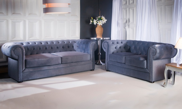 Fabric Chesterfield Sofa Set ...