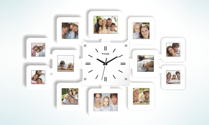 Groupon Direct   303429: Wall Clock With 12 Photo Frames From AED 99 (Up ...
