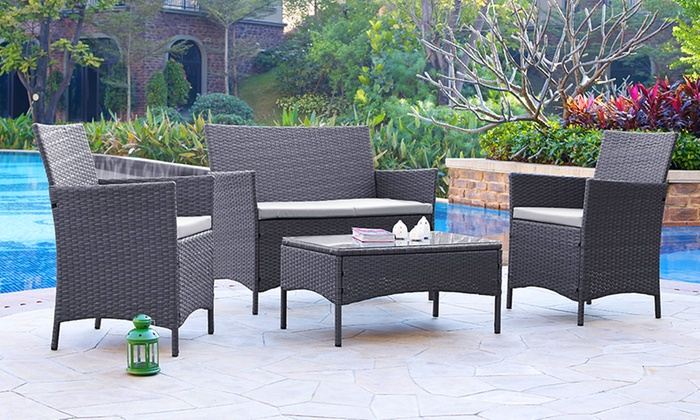 Rattan garden furniture set groupon goods for Garden furniture deals