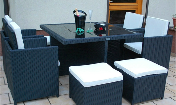 groupon goods global gmbh 9 piece cube rattan effect garden furniture set for