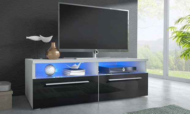 hoogglans tv meubel met led licht groupon goods. Black Bedroom Furniture Sets. Home Design Ideas
