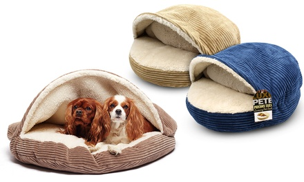 Corduroy Round Cave Pet Bed with Sherpa Interior in Camel, Navy or Coffee