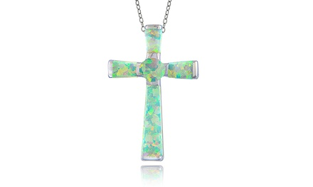 Created Opal Cross Necklace in Sterling Silver