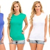 4-Pack of Women's Cap-Sleeve Basic Tops
