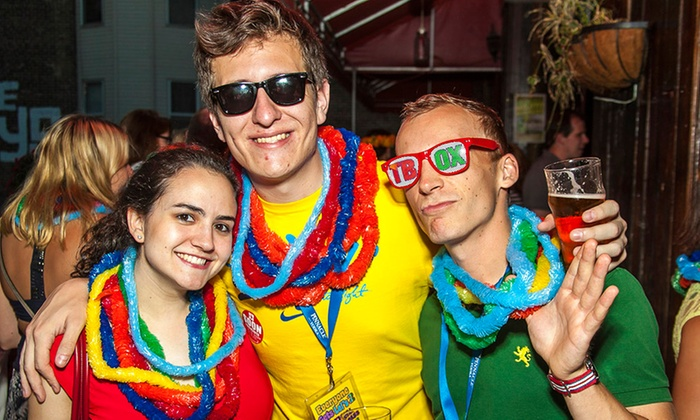 "Festa Parties - Ukrainian Village: $8 for ""Everyone Gets Lei's"" Hawaiian-Themed Pub Crawl on August 23 from Festa Parties ($20 Value)"