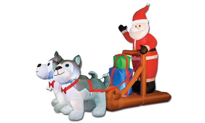 8 inflatable santa dog sled groupon