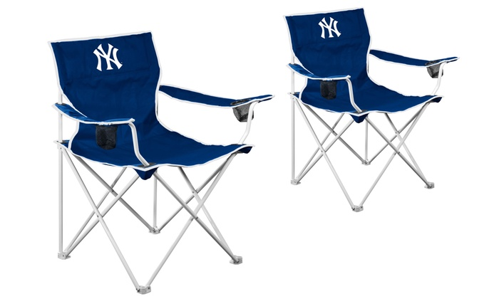 Set of 2 New York Yankees Deluxe Folding Fabric Chairs: Set of 2 New York Yankees Deluxe Folding Fabric Chairs