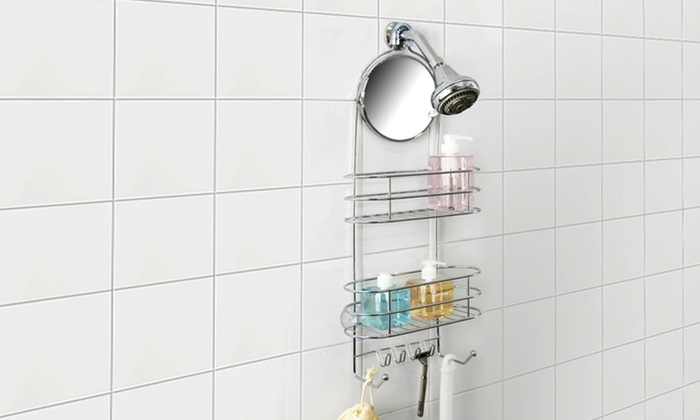 2-Tier Shower Caddy with Adjustable Mirror: Vanderbilt Deluxe 2-Tier Shower Caddy with Adjustable Mirror.