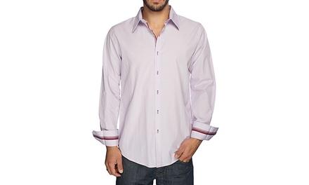 Harve Benard Men's Purple Button Down Shirt