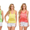 4-Pack of Women's Neon Mesh Crop Tops