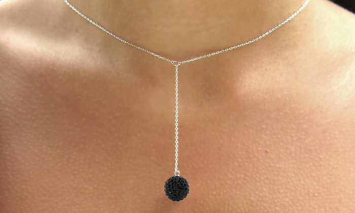0d2f3125f5 Elements of Love Y Ball Necklace with Swarovski Crystals