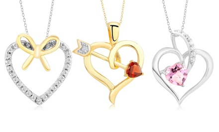 Gemstone & Diamond Heart Pendants