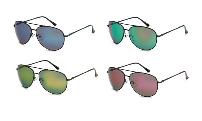 Aviator Sunglasses with Multicolored Mirrored Lenses (4-Pack)
