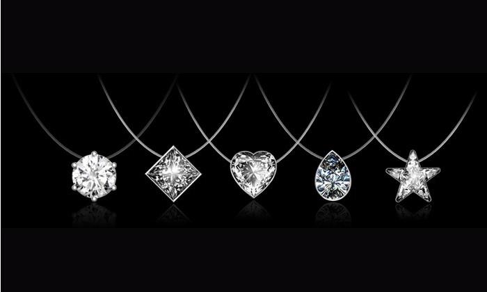 collier diamant fil transparent swarovski