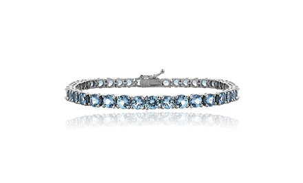 12.9 CTTW Swiss Blue Topaz Tennis Bracelet in Sterling Silver