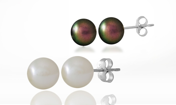Genuine Akoya Pearl Stud Earrings in Sterling Silver: Japanese Akoya Black or White Pearl Stud Earrings. Free Returns.
