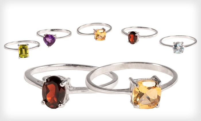 Set of Five Gemstone Rings: $39 for a Set of Five Gemstone Rings ($149 List Price). Five Sizes Available. Free Shipping and Free Returns.