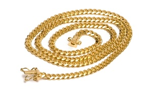 Italian Cuban Curb Necklaces In 14k Solid Gold