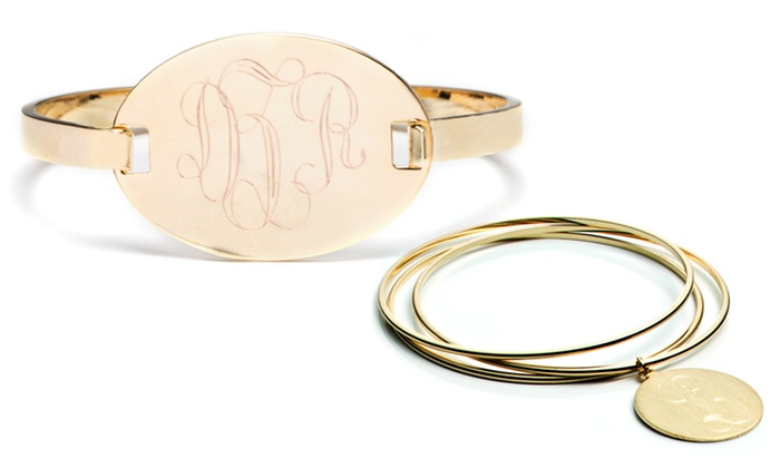 Luce Mia: Monogrammed Hinge Bracelet or Personalized Set of Three Bangles from Luce Mia (Up to 59% Off). Free Shipping.