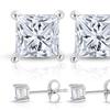 1/4 CTTW Princess-Cut Diamond and 14-Karat White Gold Stud Earrings