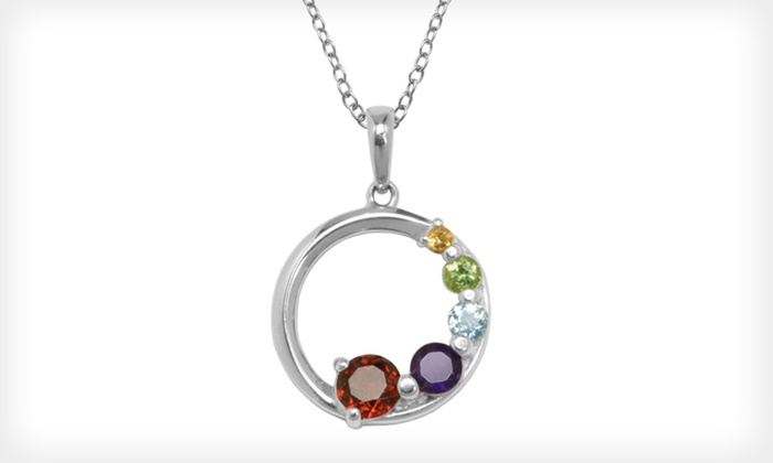 Sterling-Silver and Gemstone Necklace : $19 for a Five-Gemstone Sterling-Silver Circle Pendant with an 18-Inch Chain ($50 List Price). Free Shipping.
