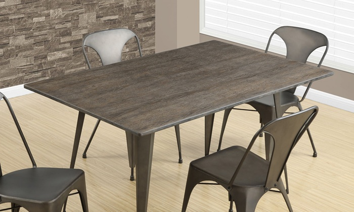 Bamboo Kitchen Table Modern industrial dining table groupon goods modern industrial metal and bamboo dining table workwithnaturefo