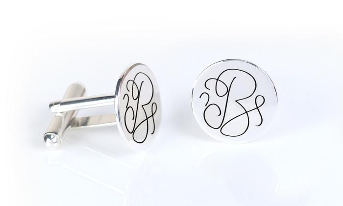 Sterling Silver-Plated Monogram Cufflinks from Monogramhub.com