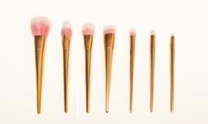 7 pièces de pinceaux de maquillage en or rose