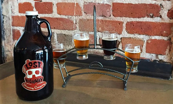 Lost Highway Brewing - Capitol Hill: Beer Flights for Two with a Growler or Barbecue or Wing Platter at Lost Highway Brewing (Up to 42% Off)