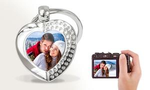 Photo Heart Crystal Key Rings
