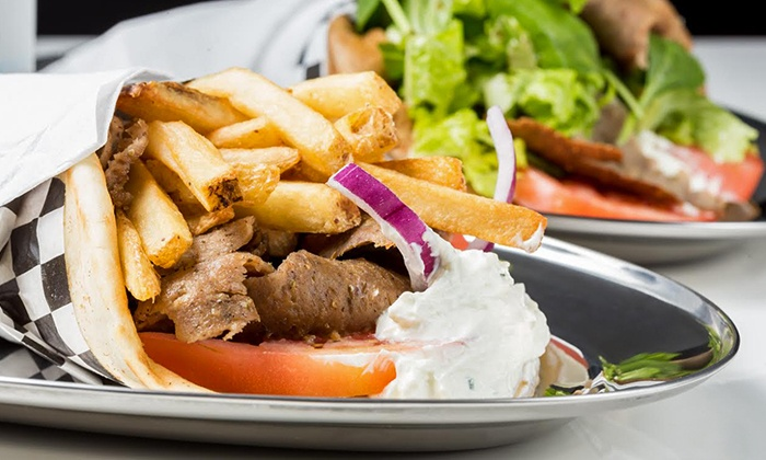 Eat Greek - Edgewater: Souvlaki, Gyros, and Other Greek Cuisine at Eat Greek (46% Off). Two Options Available.