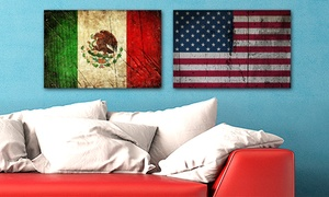 Country Flags Distressed Metal Art Prints
