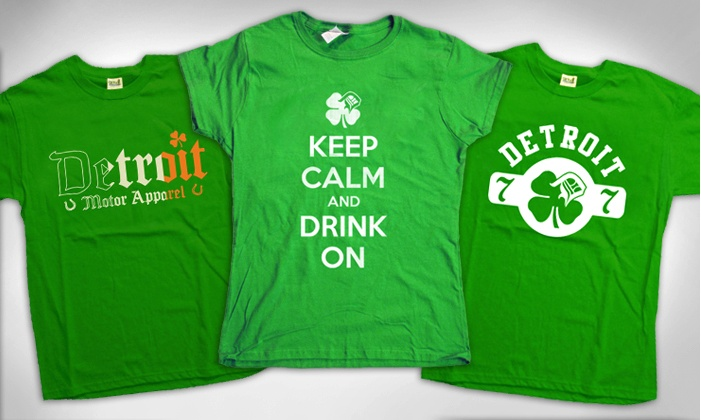 Detroit Motor Apparel: One or Two Detroit-Inspired St. Patrick's Day T-Shirts from Detroit Motor Apparel (Up to 52% Off)