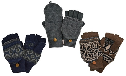 Muk Luks Men's Knitted Flip Mittens
