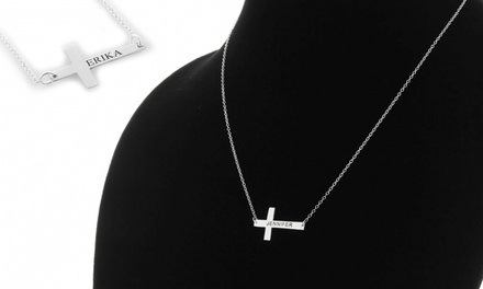 ShopOnlineDeals Sterling Silver Personalized Cross Necklace