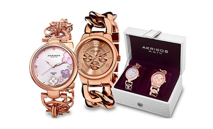 Akribos XXIV Women's Fashion Watch Gift Set. Multiple Styles Available. Free Returns.