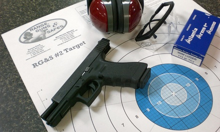 Shooting-Range Package for Two with Ammo or Beginner Firearms Class at Range, Guns & Safes (Up to 46% Off)