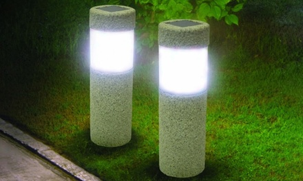 Up to Six Solar Powered LED Garden Lawn Stone Pillars from AED 59