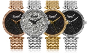 So & Co New York Women's Crystal Bling Bracelet Watch