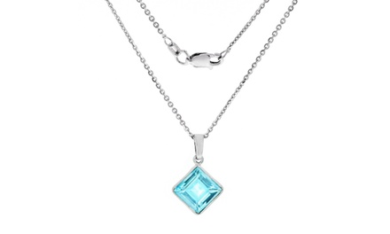 4.0 CTTW Genuine Blue Topaz Square Pendant in Sterling Silver