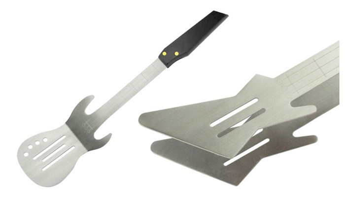 Bbq rock guitar shaped utensils groupon goods - Guitar shaped spatula ...