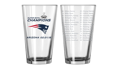 NFL Champions Roster Pint Glasses: New England Patriots (2-Pack)