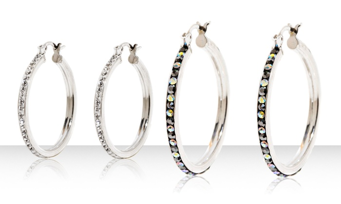 Sterling Silver Crystal Hoop Earrings: Sterling Silver Crystal Hoop Earrings. Multiple Options Available. Free Returns,