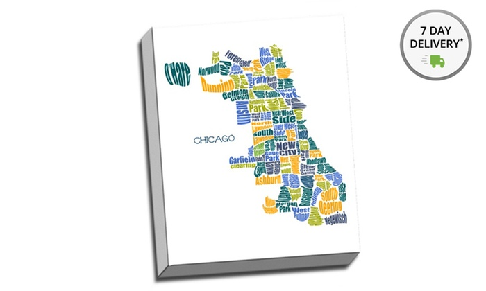 """24""""x30"""" Neighborhood Typography Map: 24""""x30"""" Gallery-Wrapped Neighborhood Typography Map. Multiple Locations Available. Free Shipping and Returns."""