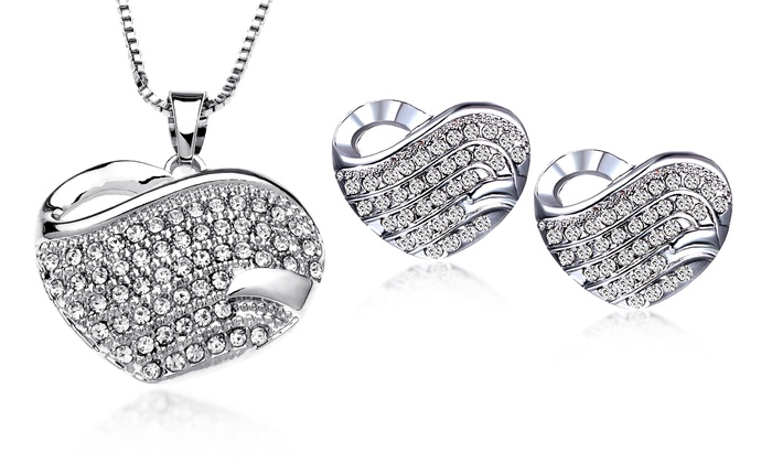 Pave Heart Necklace And Earrings Set With Swarovski Elements Crystals In 18k White Gold