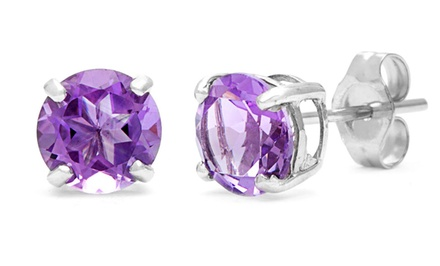 Sterling Silver 2.0cttw GENUINE Amethyst GEMSTONE Stud Earrings