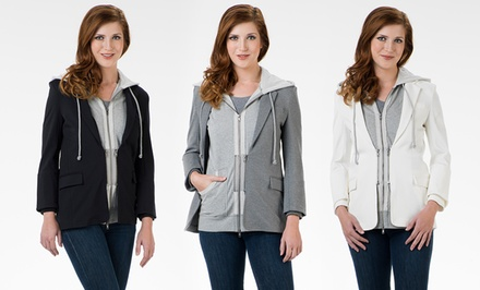 G.E.T. Women's 2-in-1 Hoodie Blazers. Multiple Colors Available.