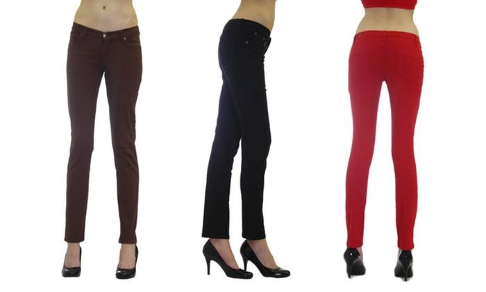 Dinamite 5-Pocket Skinny Twill Pants: Dinamite 5-Pocket Skinny Twill Pants. Multiple Colors Available. Free Returns.