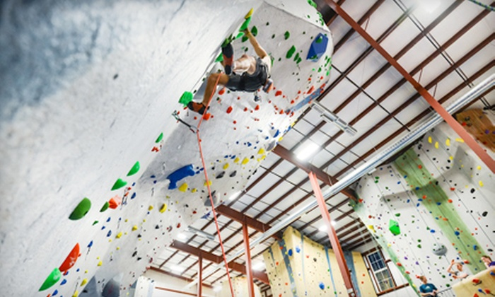 Central Rock Gym - Watertown West End: Belay Class and 1, 2, 5, or 10 Rock-Climbing Day Passes with Rental Gear at Central Rock Gym (Up to 55% Off)